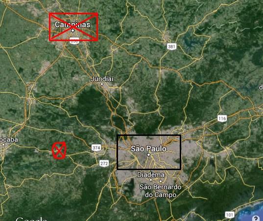 Locais estratégicos que Costa Carvalho fortaleceu as guarnições.